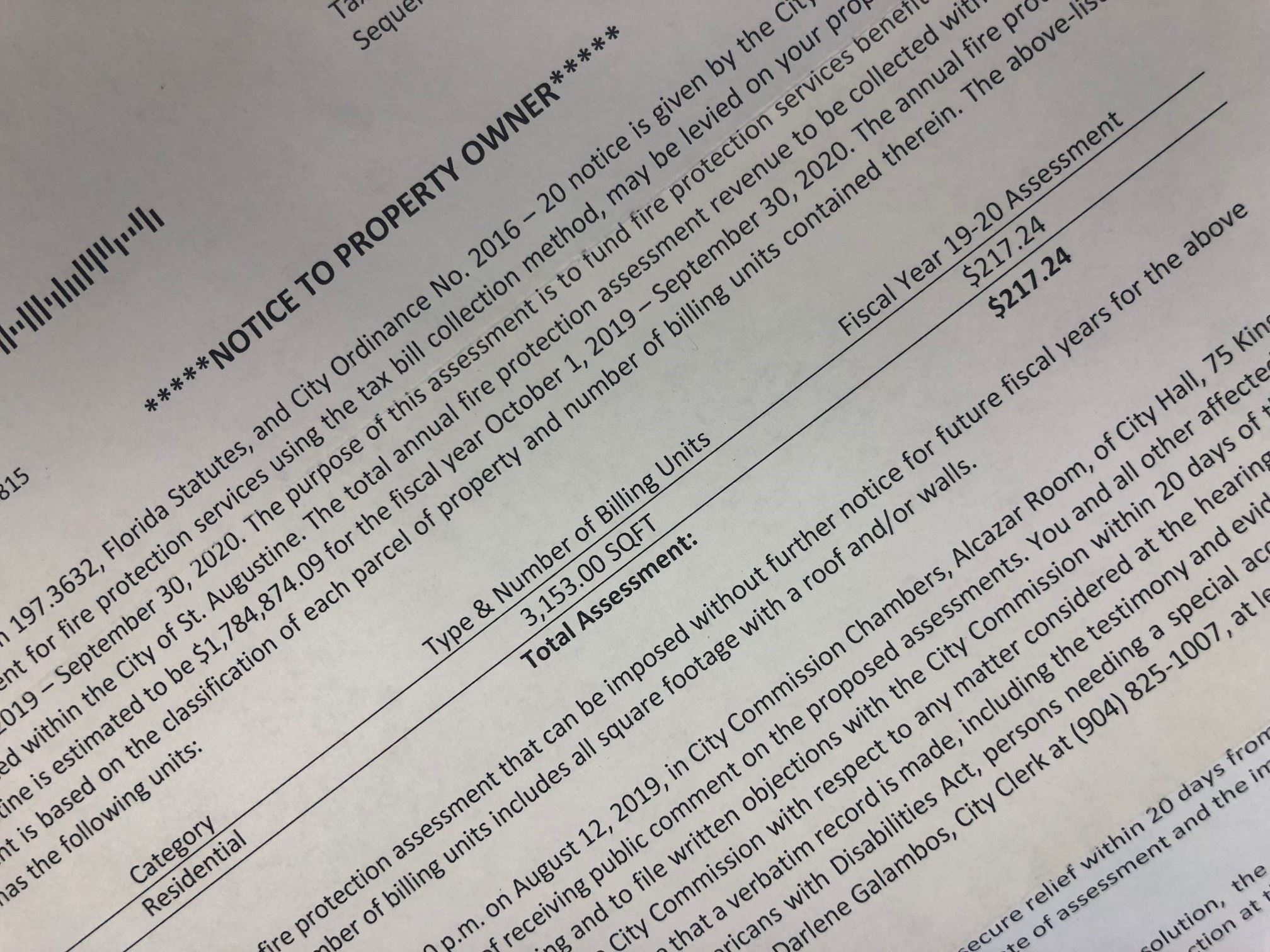 image of the Fire Assessment Notice that was mailed to residents