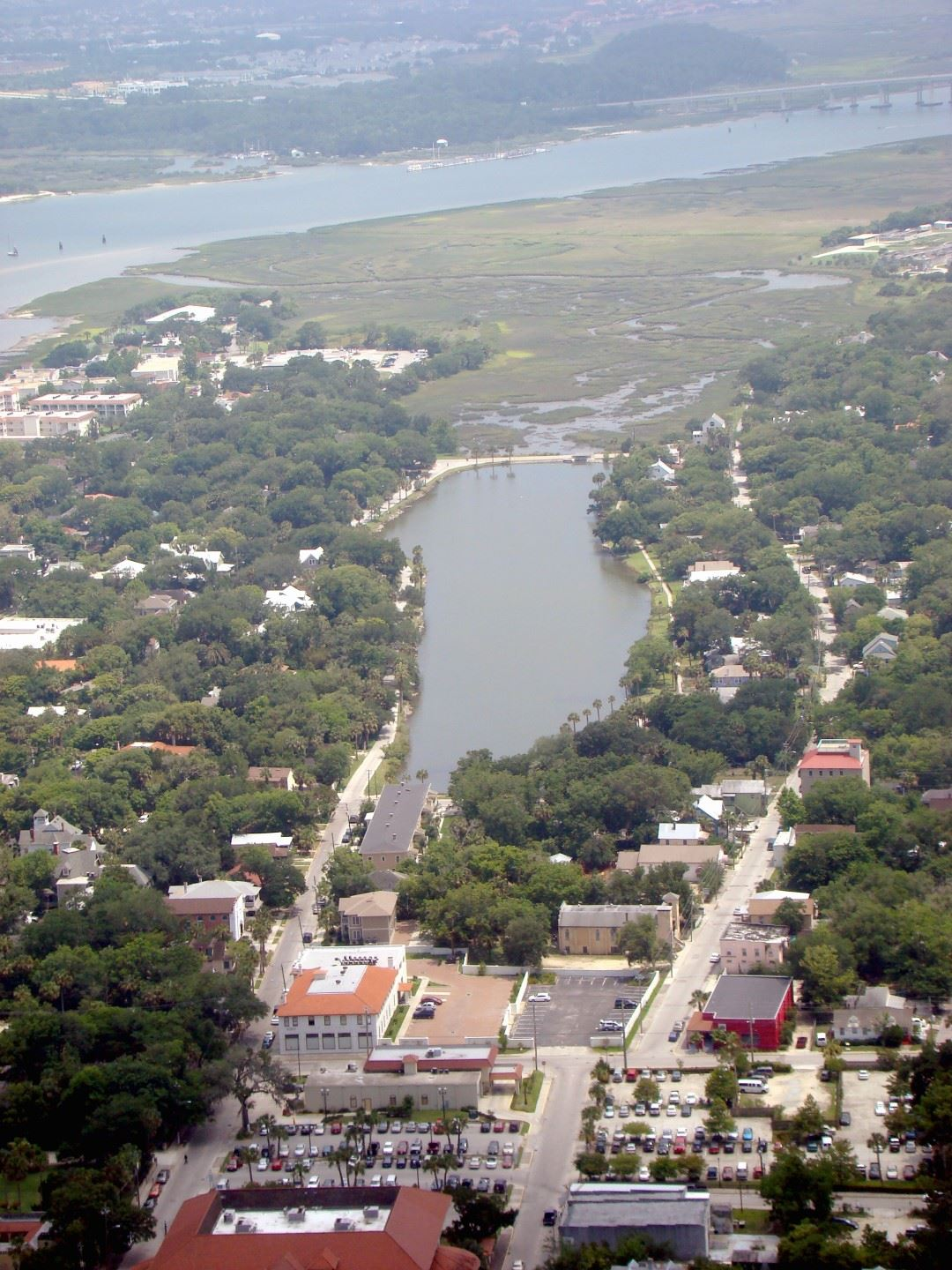 Aerial view of Lake Maria Sanchez looking south