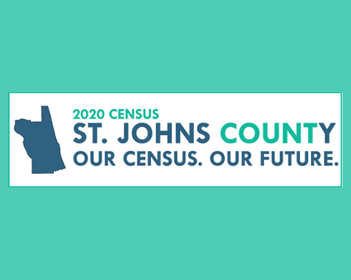 St. Johns County Census Counts logo on teal background