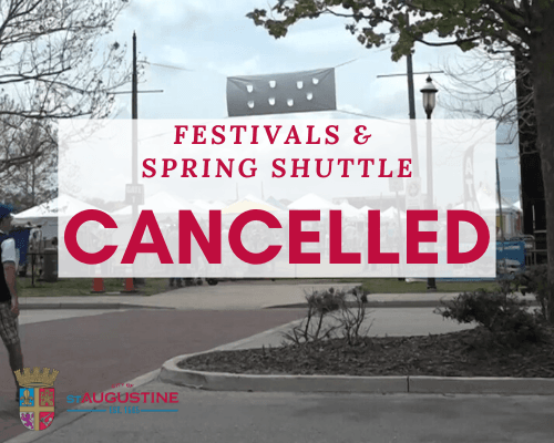 Photo of the entrance to Francis Field with text that says Festivals and Shuttles Cancelled