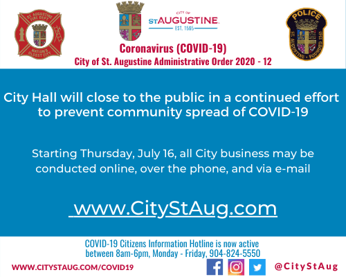 City Hall will close to the public in a continued effort  to prevent community spread of COVID-19