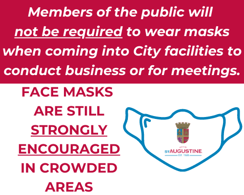 Members of the public will  not be required to wear masks when coming into City facilities to conduc