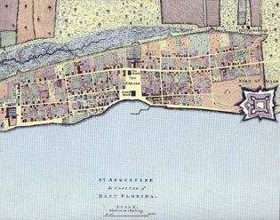 1769 Thomas Jeffreys Map Showing Colonial St. Augustine